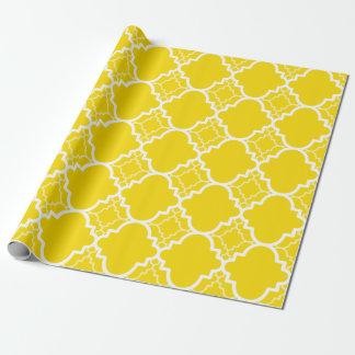 Gelbes Quatrefoil geometrisches Muster Geschenkpapier