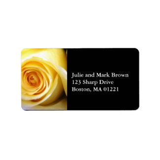 Gelbes Rosen-Adressen-Etikett Adressaufkleber