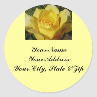 Gelbes Rosen-Adressen-Etikett Runder Aufkleber