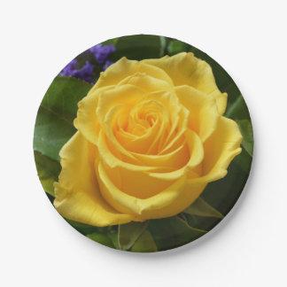 Gelbes Rosen-Blumen-Hochzeits-mit BlumenParty Pappteller