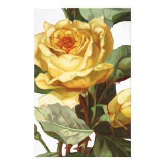 Gelbes Rosen-Briefpapier Briefpapier
