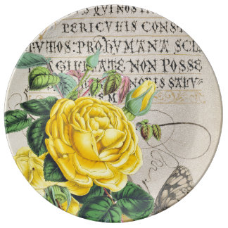 Gelbes Rosen-Manuskript Teller