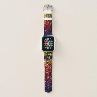 Gelbes rotes lila Monogramm Glitzern des Apple Watch Armband