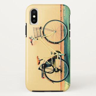 Gelbes Sahnerad des fahrrad-Korb-Fahrrad-zwei iPhone X Hülle
