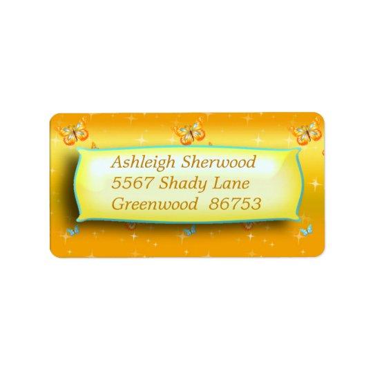 Gelbes Schmetterlings-Adressen-Etikett Adressetikett