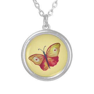 Gelbes Schmetterlings-Kunst-Silber überzogen Versilberte Kette