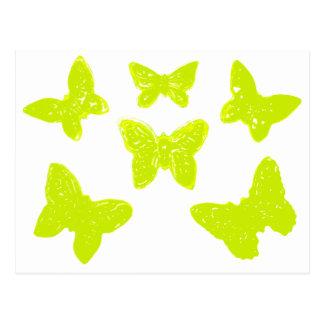 Gelbes Schmetterlings-Muster Postkarte