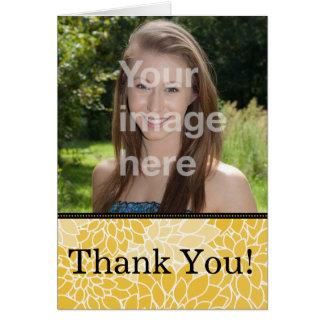 Gelbes schwarzes BlumenFoto danken Ihnen Mitteilungskarte