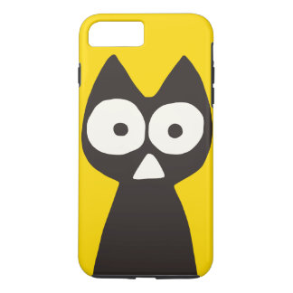 Gelbes schwarzes Dreieck-symbolische Katze iPhone 7 Plus Hülle