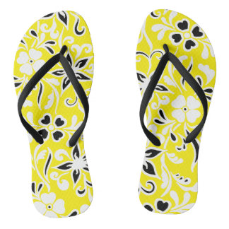 Gelbes schwarzes u. weißes Blumenmuster Flip Flops
