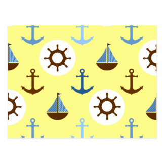 Gelbes Segelboot-Muster Postkarte