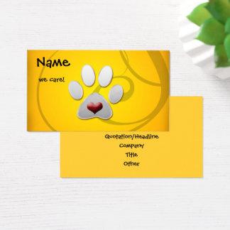 Gelbes silbernes Tatzen-Herz-Haustier Visitenkarte