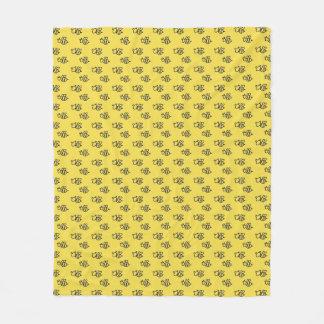 Gelbes Sommer-Bienen-Muster Fleecedecke