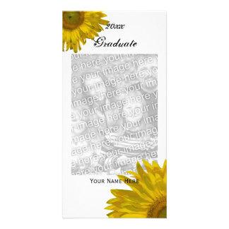 Gelbes Sonnenblume-Abschluss-Mitteilungs-Foto Karte