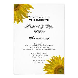 Gelbes Sonnenblume-Hochzeits-Jahrestags-Party Karte