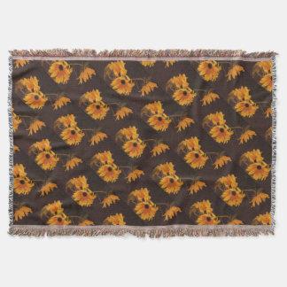 Gelbes Sonnenblumemuster auf Decke