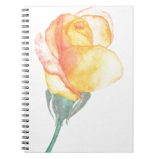 Gelbes Sonnenuntergang-Rosen-Notizbuch Notizblock