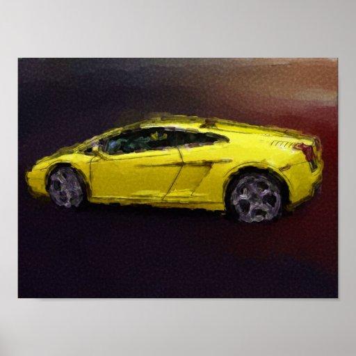Gelbes Sportauto Poster