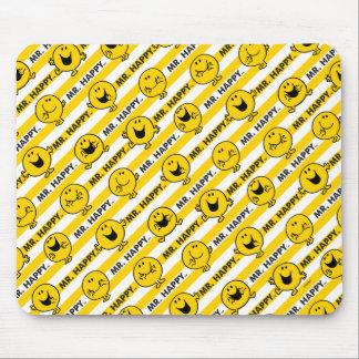 Gelbes Streifen-Muster Herr-Happy | Mauspad