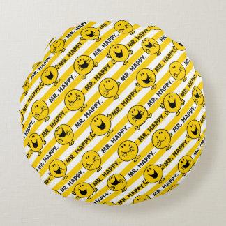 Gelbes Streifen-Muster Herr-Happy | Rundes Kissen