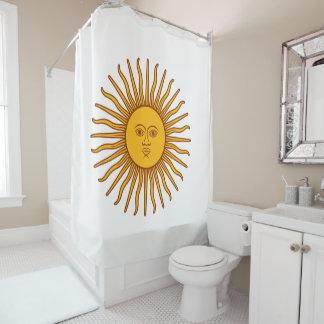 Gelbes Sun-Astrologie-Planeten-Symbol-Weiß Duschvorhang