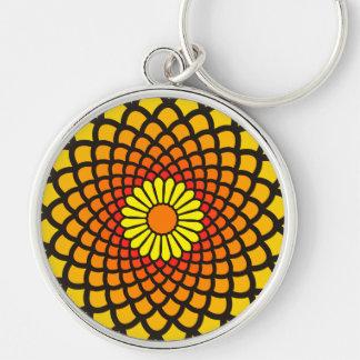 Gelbes Symmetrie-lautes Summen Silberfarbener Runder Schlüsselanhänger