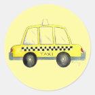 Gelbes Taxi-kariertes Fahrerhaus Cabbie New York Runder Aufkleber