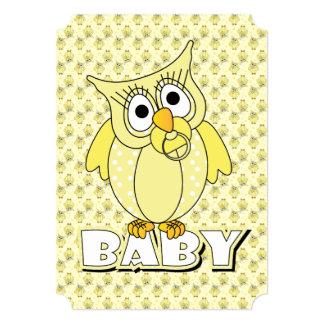 Gelbes Tupfen-Eulen-Babyparty-Thema 12,7 X 17,8 Cm Einladungskarte