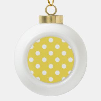 Gelbes Tupfen-Muster Keramik Kugel-Ornament