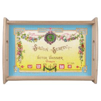 Gelbes u. blaues antikes französisches tablett