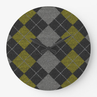 Gelbes u. graues Strick-Rauten-Muster Große Wanduhr