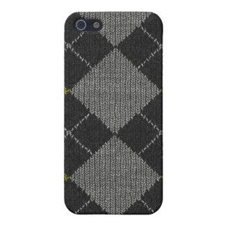 Gelbes u. graues Strick-Rauten-Muster iPhone 5 Hüllen