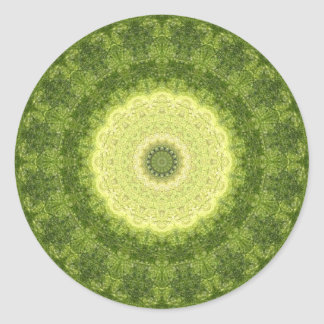 "Gelbes u. grünes ""immergrünes"" Mandala-Kaleidoskop Runder Aufkleber"