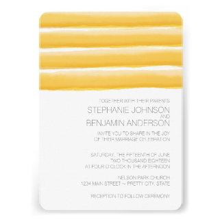 Gelbes und graues Aquarell Stripes Hochzeit Personalisierte Einladungen