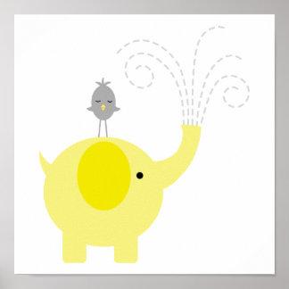 Gelbes und graues Elefant-und Vogel-Kinderzimmer Posterdrucke