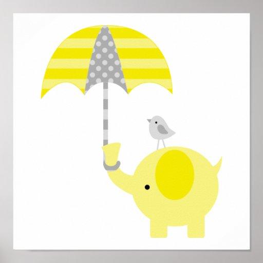 Gelbes und graues Elefant-und Vogel-Kinderzimmer Plakatdrucke