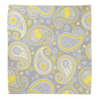 Gelbes und graues elegantes Paisley-Musters Kopftuch