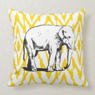 Gelbes und graues Ikat weißer Elefant-Kissen Zierkissen