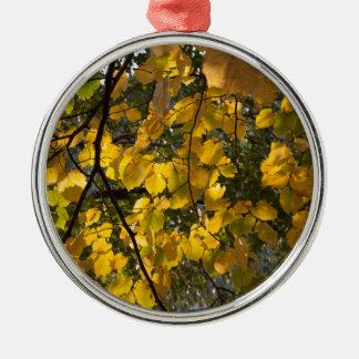 Gelbes und grünes Herbst-Blätter Silbernes Ornament
