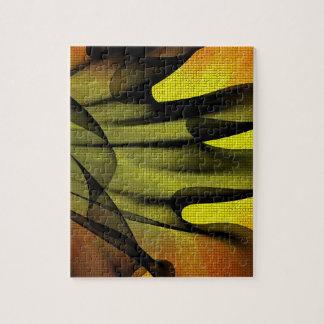 Gelbes und schwarzes abstraktes puzzle
