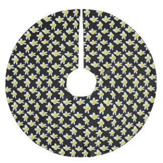 Gelbes und schwarzes Frangipani-Blumen-Muster, Polyester Weihnachtsbaumdecke