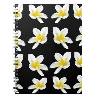 Gelbes und schwarzes Frangipani-Muster, Spiral Notizblock