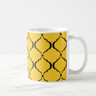 Gelbes und schwarzes marokkanisches Muster Kaffeetasse