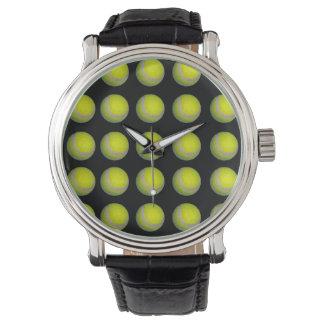 Gelbes und schwarzes Tennisball-Muster, Armbanduhr