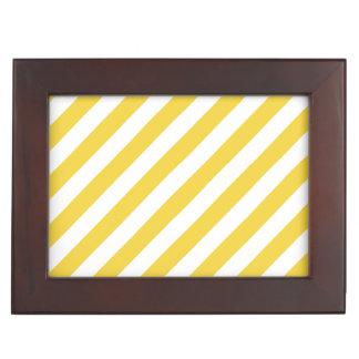 Gelbes und weißes diagonales Streifen-Muster Erinnerungsdose