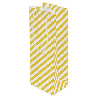 Gelbes und weißes diagonales Streifen-Muster Geschenktüte Für Weinflaschen
