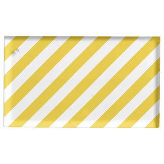 Gelbes und weißes diagonales Streifen-Muster Tischnummernhalter