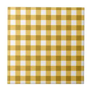 Gelbes und weißes Gingham-Karo-Muster Fliese