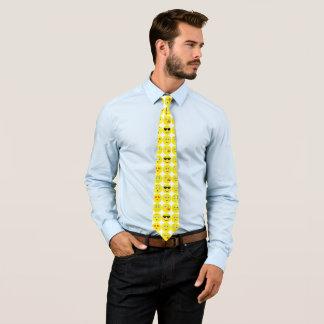 Gelbes und weißes lustiges Emoji Muster Krawatte