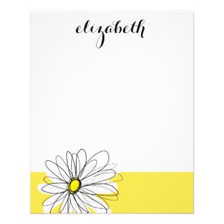 Gelbes und weißes wunderliches Gänseblümchen mit Flyer